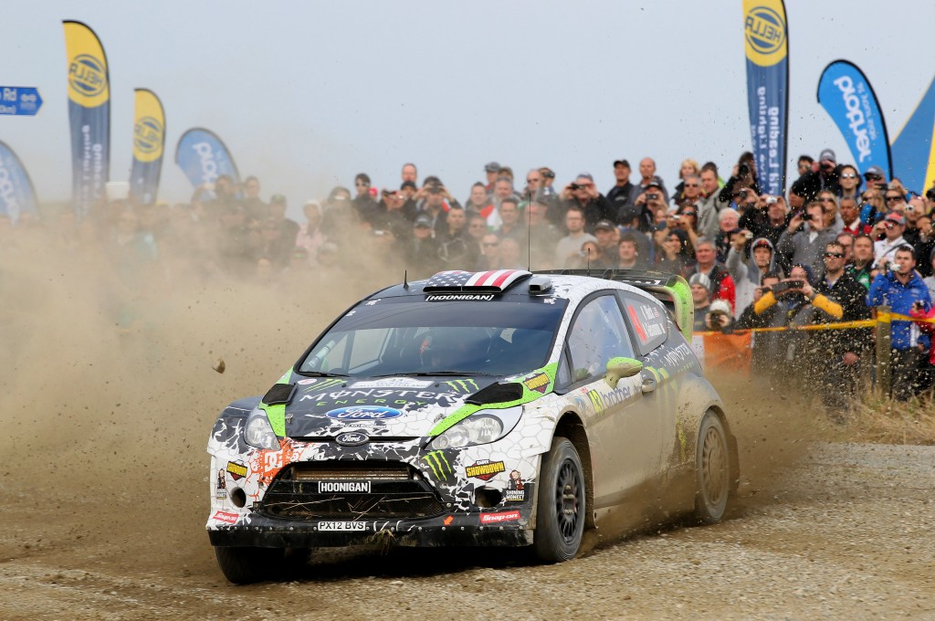 Ken Block & Alex Gelsomino in action during their last visit to NZ - WRC Rally NZ 2012. Photo Euan Cameron