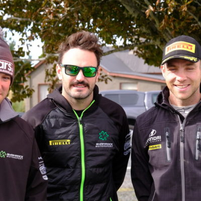 From left, Richie Dalton, Nathan Quinn and Hayden Paddon. [img Geoff Ridder]