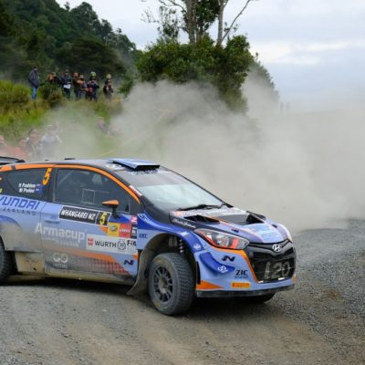 Hayden Paddon overcame the fog and dust to open up a lead in Whangarei. Photo: Geoff Ridder