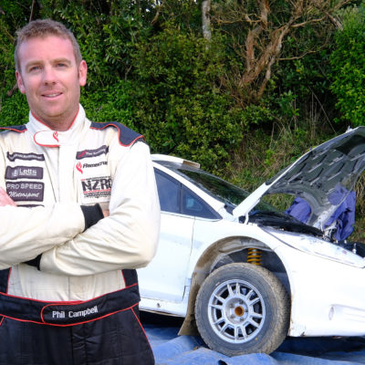 Phil Campbell with his Ford Fiesta AP4. Photo / Geoff Ridder