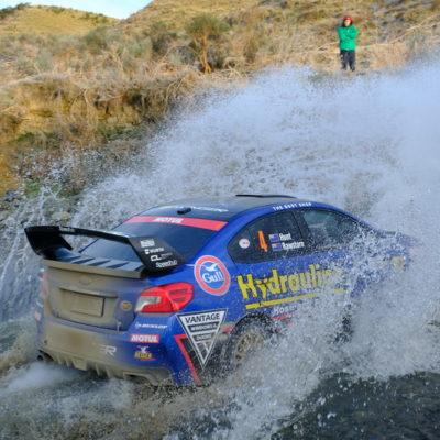 Ben Hunt crosses a ford in his Subaru. Photo / Geoff Ridder