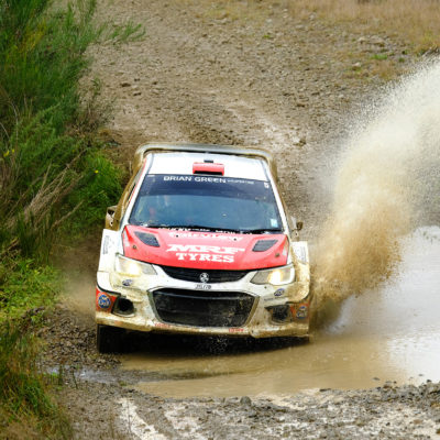 Josh Marston and Andrew Graves on the way to their maiden NZRC win. Photo / Geoff Ridder