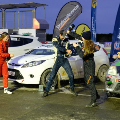 Robbie and Amy Stokes celebrate on the Rally South Canterbury podium. Photo / Geoff Ridder