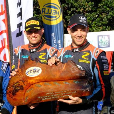 Mal Peden, a 2017 graduate, won International Rally of Whangarei alongside Hayden Paddon. Photo / Geoff Ridder