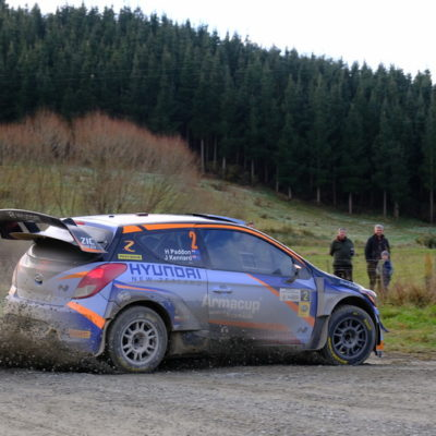 Hayden Paddon in action at Rally South Canterbury. Photo / Geoff Ridder