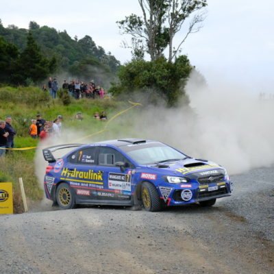 Ben Hunt in action in his Subaru. Photo / Geoff Ridder