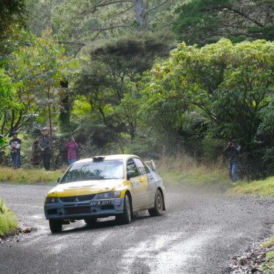 Eugene Creugnet in action at Rally Coromandel. Photo / Geoff Ridder