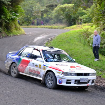 Matt Adams in action at Rally Coromandel. Photo / Geoff Ridder