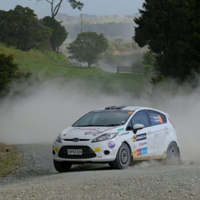 Robbie and Amy Stokes on the way to winning in Whangarei. Photo / Geoff Ridder